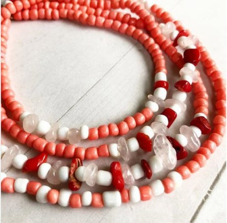 Red Bamboo Coral & Rose Quartz African Waist Beads