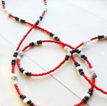 Red Black & White African Waist Beads