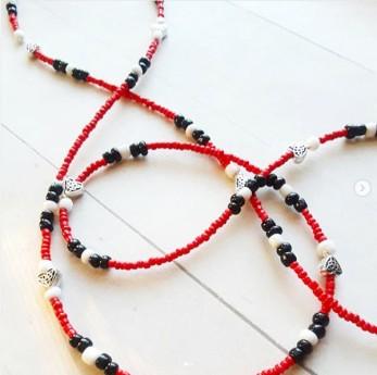 Red Black & White African Waist Beads