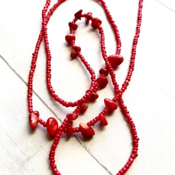 Red Bamboo Coral African Waist Beads